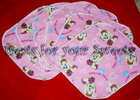 Set of 6 - 2 layer Flannel Wipes Wash cloths Monkey Princess Diva