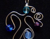 Sterling silver wire and blue glass pendant - Mediterranean Beauty 2