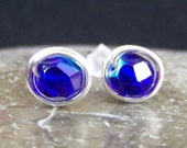 Blue glass and sterling silver post earrings
