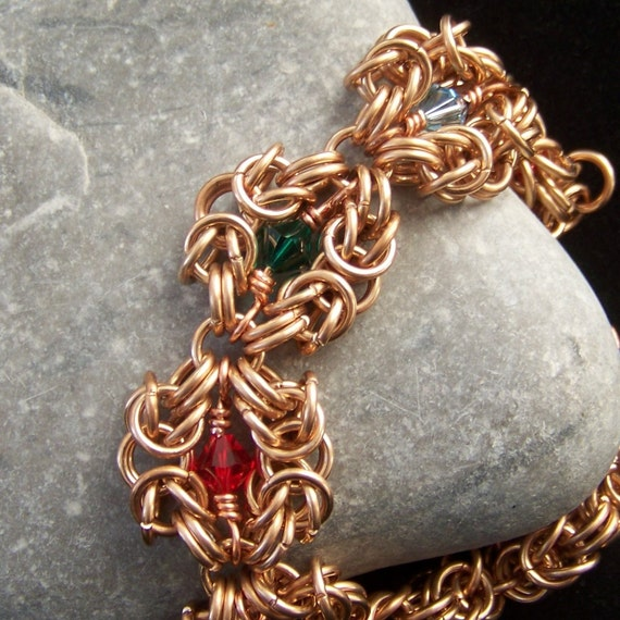 Indian Summer - bronze romanov chainmaille bracelet with crystals