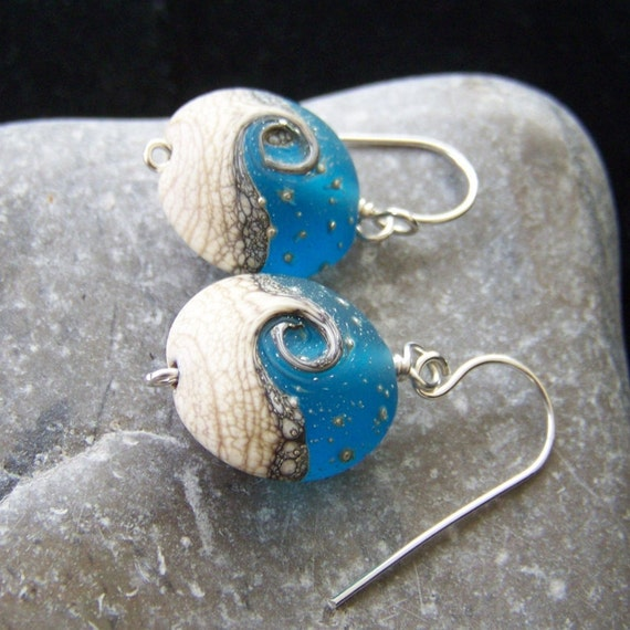 Sterling silver and blue lampwork glass earrings
