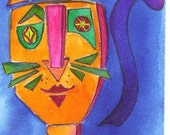 Geo Cat ACEO Original Free Shipping