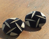 Vintage Black Celluloid Buttons Set of Two