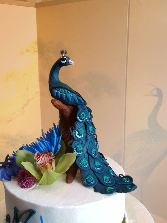 Peacock on a tree-trunk - Made to order