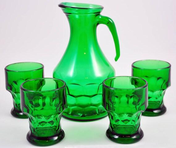 Sale - Vintage Pitcher, Tumbler, Italy, Emerald Green, Glassware Set