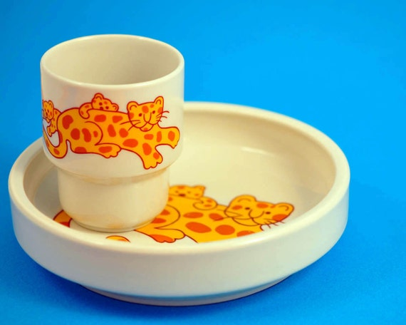 Arabia of Finland Wartsila, Cup, Plate, Childrens Set, Tiger