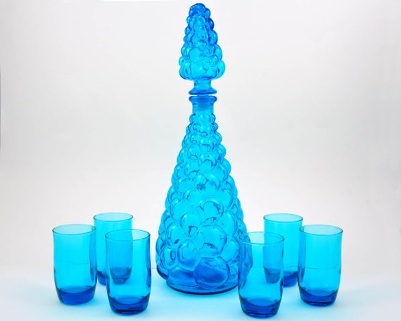 Vintage Decanter and Glass Set, Turquoise Italian Art Glass, Anchor Hocking Laser Blue