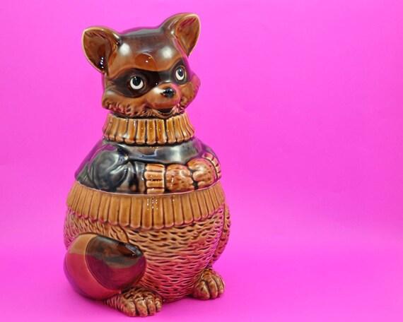 Vintage Cookie Jar, Raccoon Bandit, Kitsch Japan Ceramic