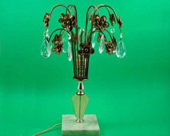 Italian Tole Lamp, Vintage Lamp, Brass, Prism, Marble