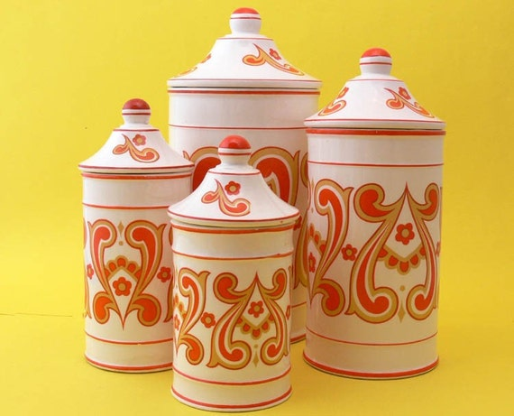 Set of 4 - Vintage Mod Ridgway Christina Ironstone Canisters