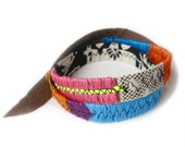 Leather Bracelet - Double Wrap - Neon Brights - Lace