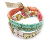 Leather Bracelet - Double Wrap - Spring Floral Colors- Celebrate