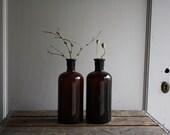 vintage amber glass bottles