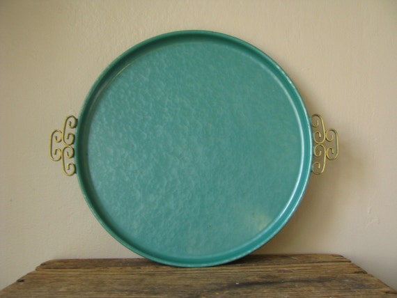 Vintage Metal Enamel Glazed Tray Round Kyes By