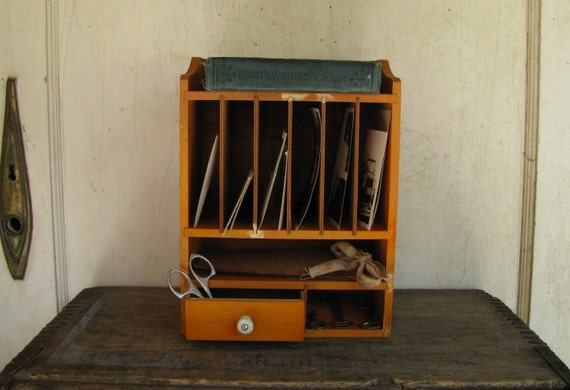 Vintage wooden desk organizer letter sorter - Desk organizer sorter ...