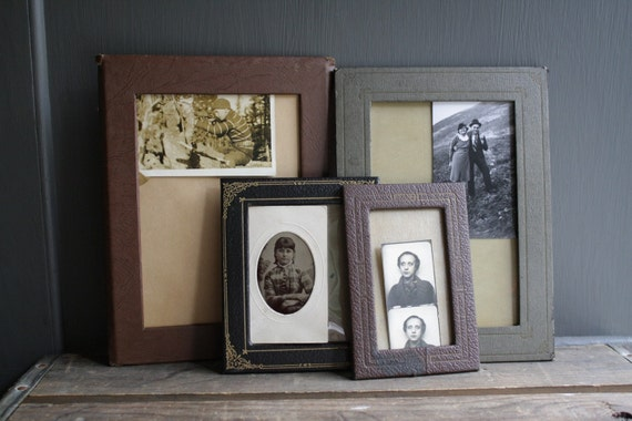 collection of leather frames