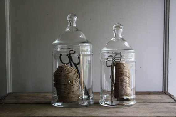 vintage apothecary counter jars
