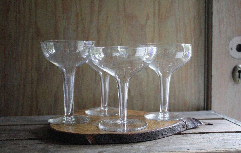 Hollow stem champagne glasses set of four by littlebyrdvintage - Champagne flutes hollow stem ...