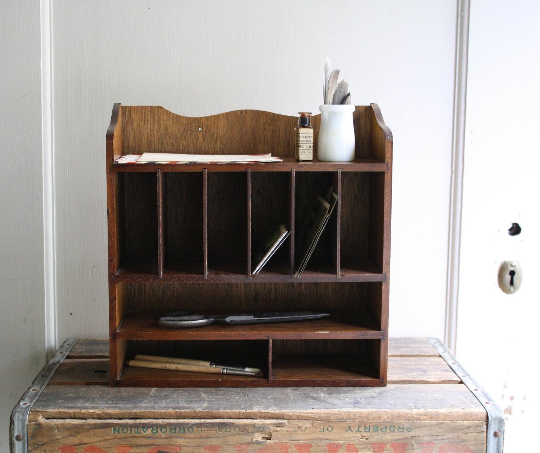 Wooden desk organizer by littlebyrdvintage on etsy - Wood desk organizer ...