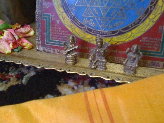 3 Solid Indian Brass Murti - Tiny Altar Figurines  - Sarasvati, Laxmi & Durga