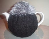 KNITTED BLACK FLUFFY TEA COSY