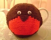 Hand Knitted  Happy Robin Redbreast Tea Cosy, teapot cozy