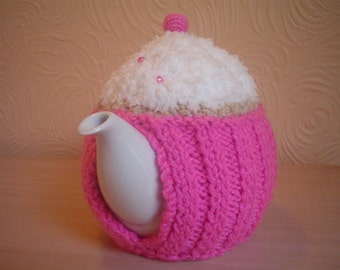 Hand knitted pink  cupcake teapot  cozy,    tea cosy