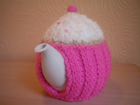Hand knitted pink cupcake teapot cozy tea cosy