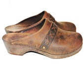70s soft brown leather CLOGS