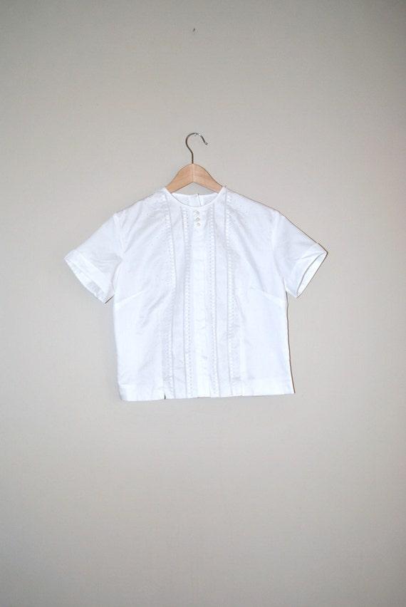 1950s rockabilly summer blouse / 50s t shirt medium