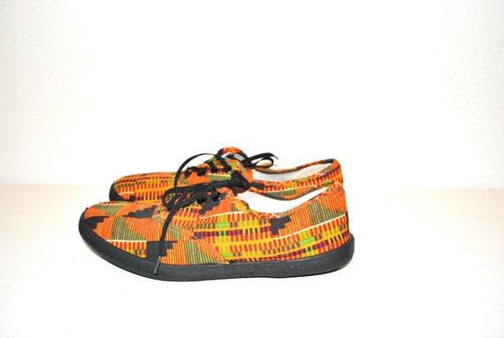 80s neon sneakers // neon geometric print // vintage 80s flat sneakers