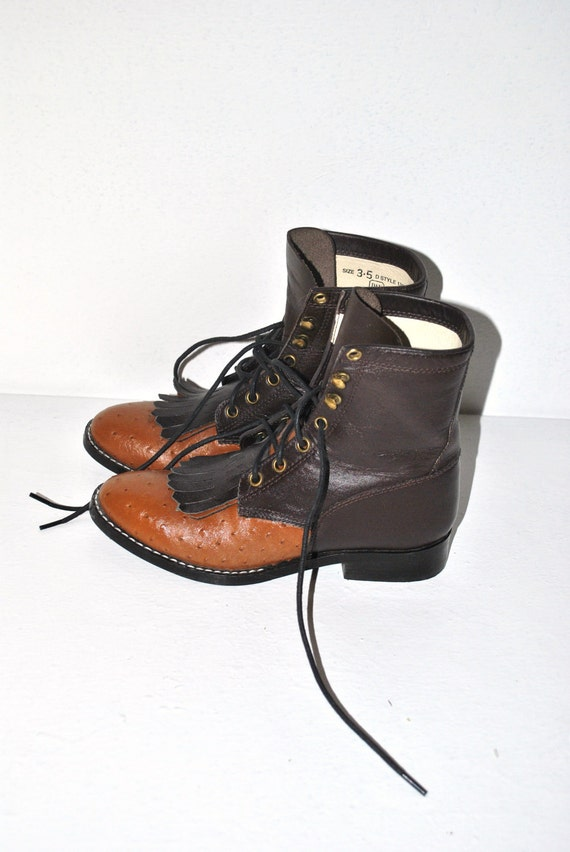 1970s roper boots // orange and brown leather // grunge ankle boot