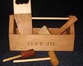 Wood Toy Tool Box w/Name Engraved