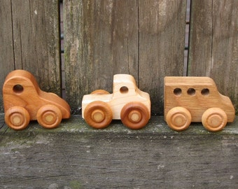Three Little Wooden Toy Cars - Kids Handmade Natural Wood Toy Car, Truck and Bus