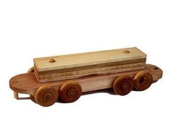 Wooden Train Lumber Car