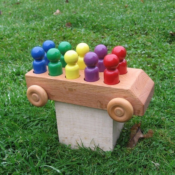 Wooden Toy Bus - Kids Handmade Natural Wood Toy Rainbow Bus