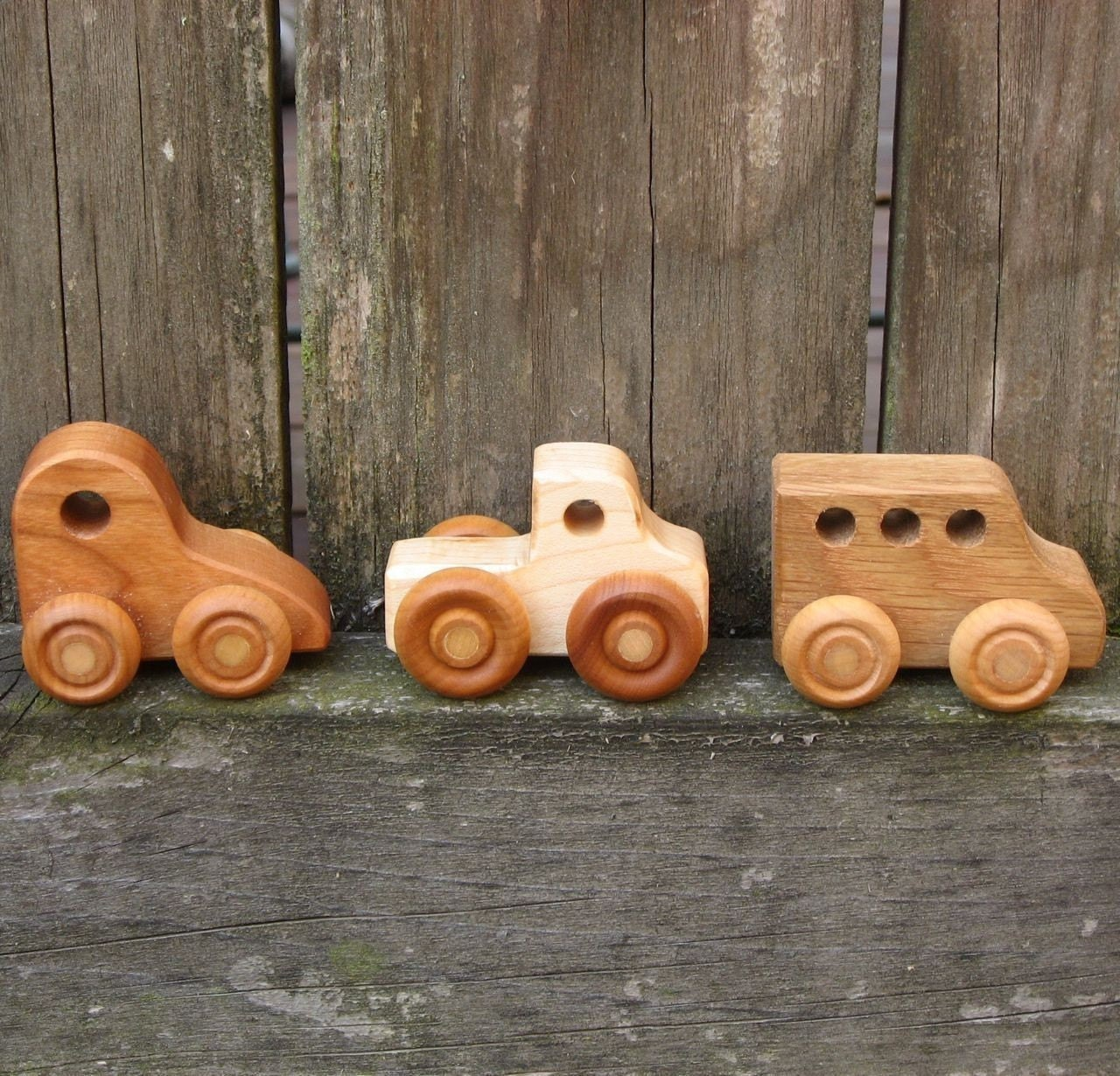Three Little Wooden Toy Cars Kids Handmade Natural Wood Toy