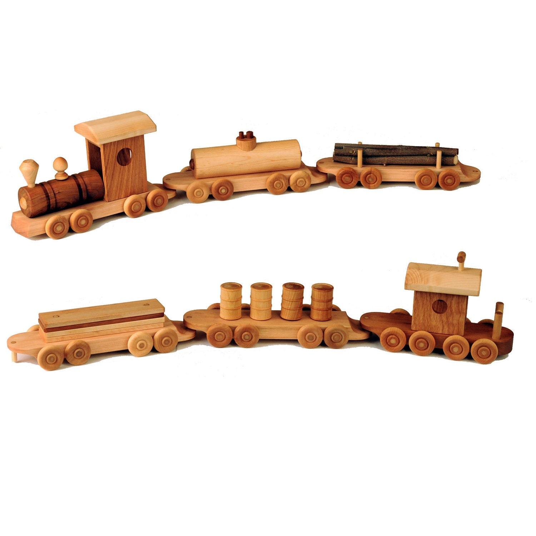 Six Piece Wooden Train Set by WoodToyShop on Etsy