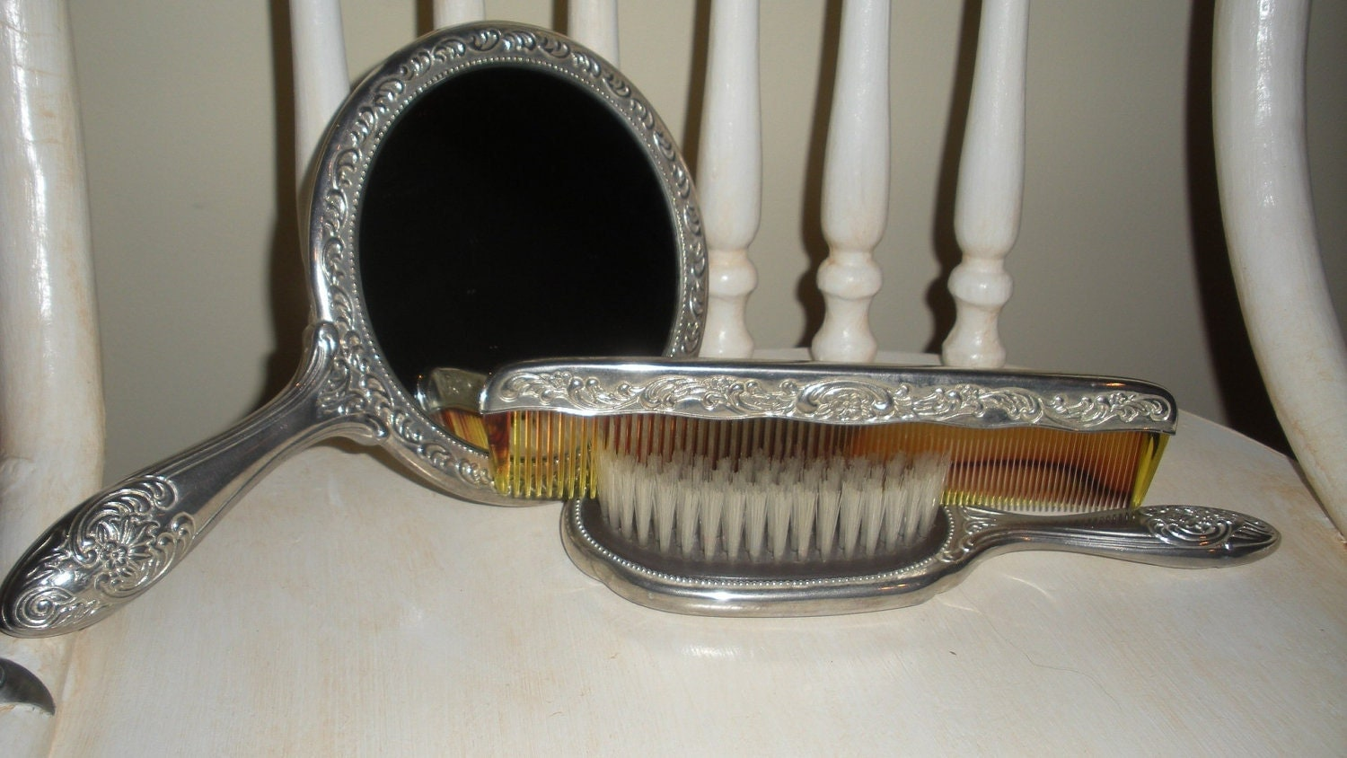 Antique Silver Brush Mirror And Comb Set Vanity Set