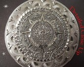 Mexican Sterling Silver Atzec Sun God Calendar - 925 Signed Pendant or Brooch