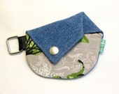 CLEARANCE - Origami coin purse - Blue denim and butterflies