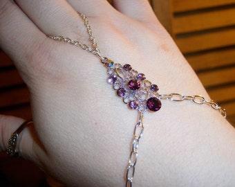 shades of violet crystal slave bracelet