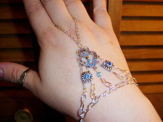 blue heart crystal slave bracelet