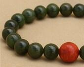 Jade Wrist Mala Bracelet with Coral - Yoga Mala Beads