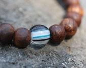 Walnut Wood Wrist Prayer Beads w Striped Glass Yoga Bracelet