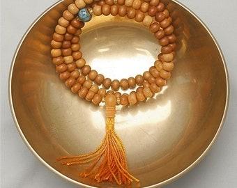 Sandalwood Mala Prayer Beads with Sky Blue Ceramic Beads - Meditation Mala, Mantra Mala, Buddhist Mala Beads