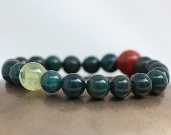 Bloodstone Wrist Mala Bracelet w Red Jasper & Prehnite - Meditation Mala Beads - Courage, Energy, Reduced Worry