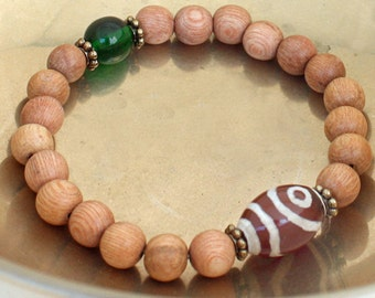 Rosewood Wrist Mala Bracelet w Etched Agate and Pewter - Yoga and Meditation Bracelet
