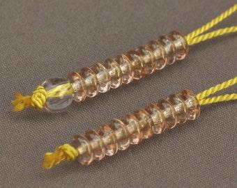 Clear Amber Glass Mala Counter Set - Buddhist Prayer Bead Accessory