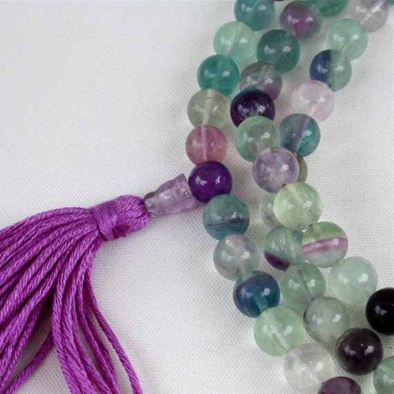 Rainbow Fluorite Mala Necklace w Green Aventurine - Buddhist Prayer Beads - Yoga Mala
